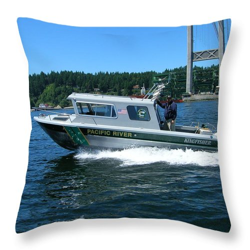 Tacoma Throw Pillow featuring the photograph Pacific River Freedom by Alan Espasandin