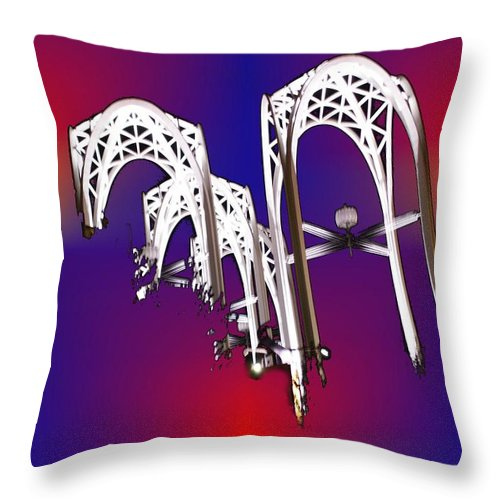 Seattle Throw Pillow featuring the photograph Pacific Science Center Arches by Tim Allen