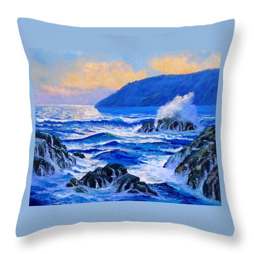 Ocean Throw Pillow featuring the painting Pacific Sunset by Frank Wilson