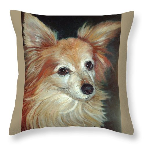 Pet Portraits Throw Pillow featuring the painting Paco The Papillion by Portraits By NC