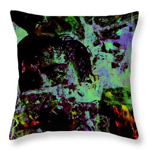 Emmanuel manny Dapidran Pacquiao Throw Pillow featuring the painting Pacquiao Paint Stay Focused On Your Goal by Brian Reaves