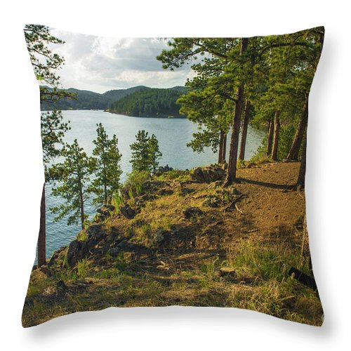 Pactola Lake Throw Pillow featuring the photograph Pactola Lake South Dakota by Nikki Vig