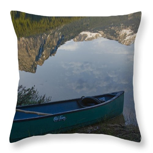 Canoe Throw Pillow featuring the photograph Paddle To The Mountains by Idaho Scenic Images Linda Lantzy