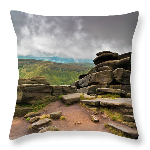 Landscape Throw Pillow featuring the photograph Pagoda #1, Kinder Scout, Peak District, North West England by Anthony Lawlor