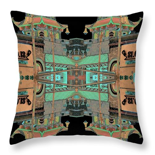 China Town Throw Pillow featuring the photograph Pagoda Tower Becomes Chinese Lantern 1 Chinatown Chicago by Marianne Dow