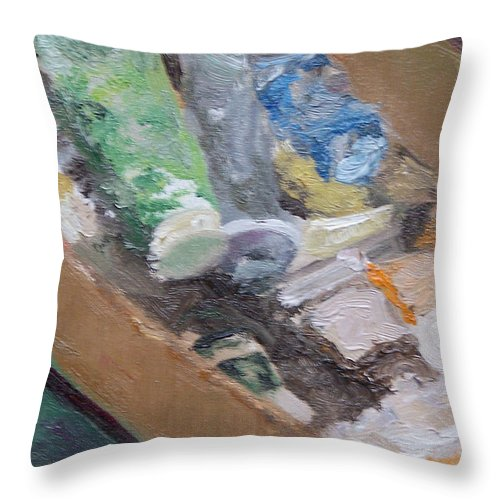 Paint Tubes Throw Pillow featuring the painting Paint Box by Alicia Drakiotes