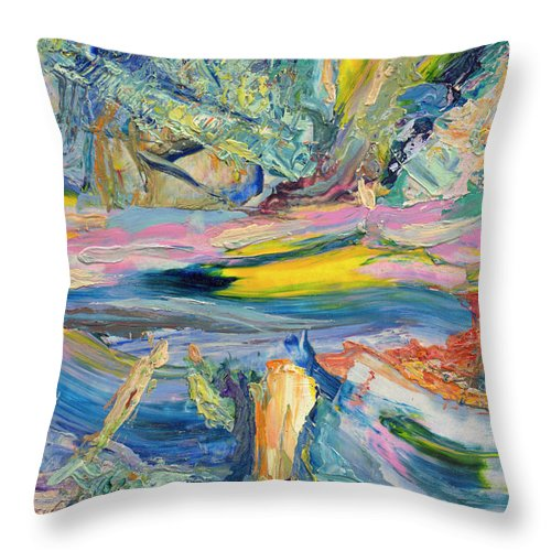 Abstract Throw Pillow featuring the painting Paint Number 31 by James W Johnson