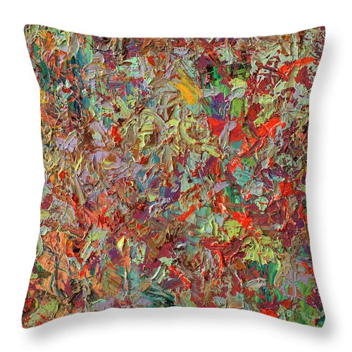 Abstract Throw Pillow featuring the painting Paint Number 33 by James W Johnson