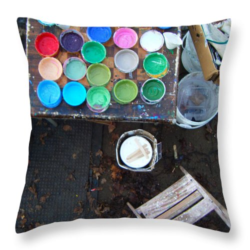 Paint Throw Pillow featuring the photograph Paint Pots by Angelina Marino