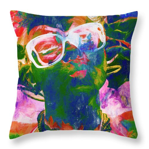 Drawing Throw Pillow featuring the painting Paint Splash Pinup Art by Jorgo Photography - Wall Art Gallery