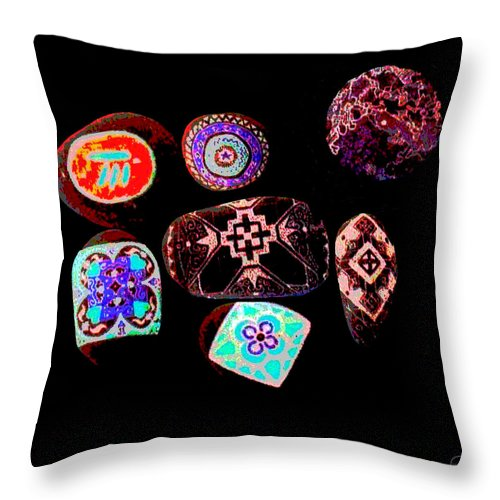 Square Throw Pillow featuring the digital art Painted Asteroids 1 by Eikoni Images