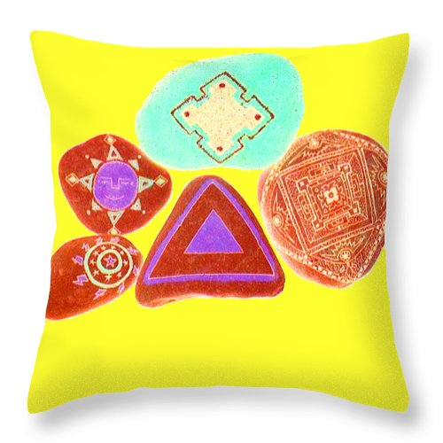 Square Throw Pillow featuring the digital art Painted Asteroids 10 by Eikoni Images