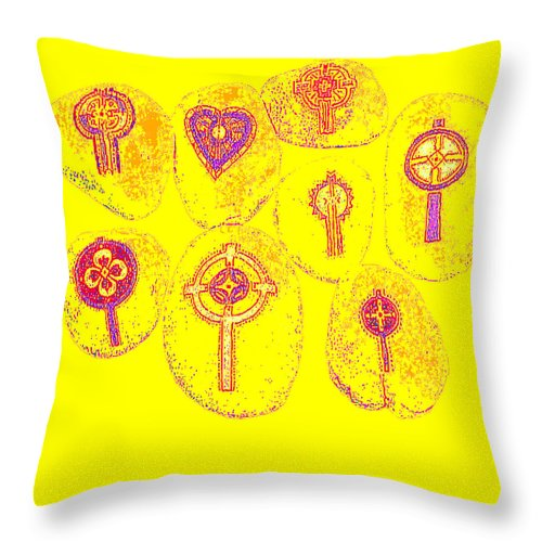 Square Throw Pillow featuring the digital art Painted Asteroids 2 by Eikoni Images