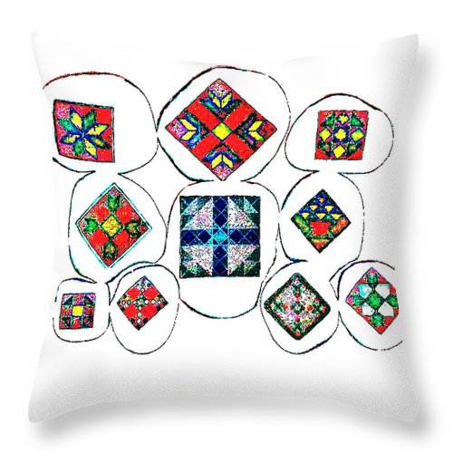 Square Throw Pillow featuring the digital art Painted Asteroids 7 by Eikoni Images