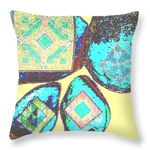 Square Throw Pillow featuring the digital art Painted Asteroids 8 by Eikoni Images
