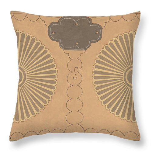 Throw Pillow featuring the drawing Painted Chest by D.p. Jones