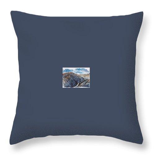 Plein Air Throw Pillow featuring the painting Painted Desert Landscape Mountain Desert Fine Art by Derek Mccrea