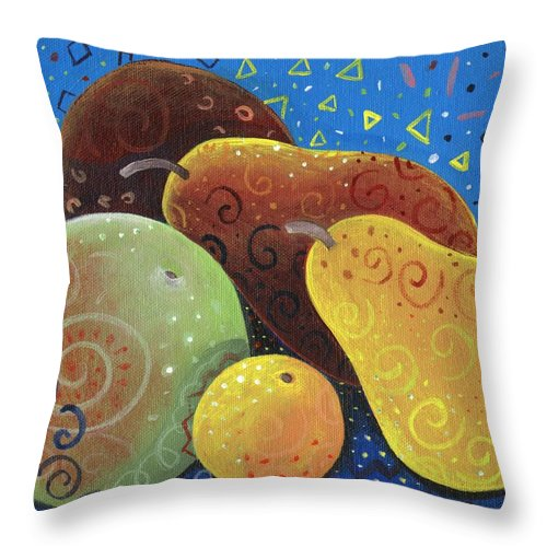 Fruit Throw Pillow featuring the painting Painted Fruit by Helena Tiainen