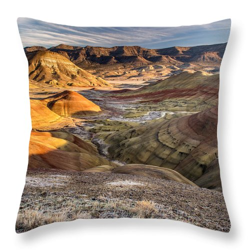 Painted Hills Throw Pillow featuring the photograph John Day Fossil Beds Painted Hills Oregon First Light 2013 by Rick Dunnuck