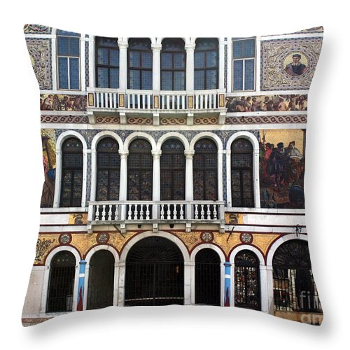 Fresco Throw Pillow featuring the photograph Painted House by Pat Purdy