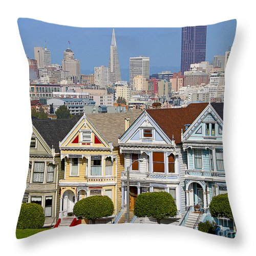 Painted Ladies Throw Pillow featuring the photograph Painted Ladies by Jack Schultz