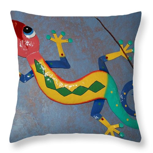 Pop Art Throw Pillow featuring the photograph Painted Lizard by Rob Hans