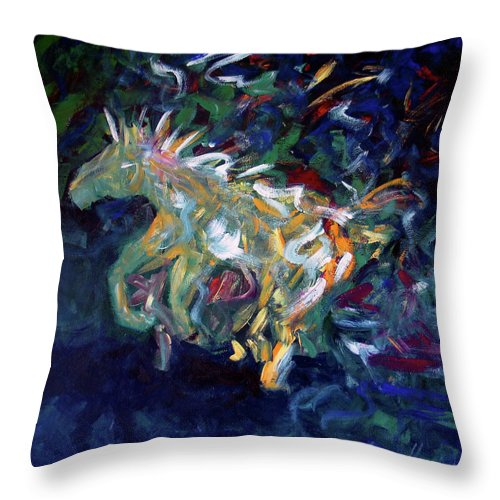 Abstract Horse Throw Pillow featuring the painting Painted Pony by Lance Headlee