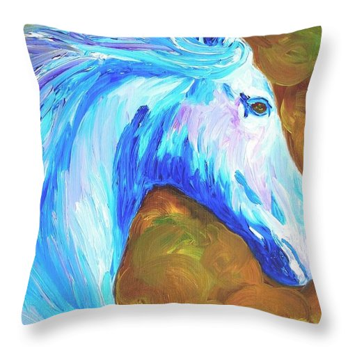 Horses Throw Pillow featuring the painting Painted Stallion by Michael Lee