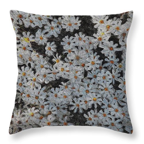 White Throw Pillow featuring the digital art Painted White Daisies by Clive Littin
