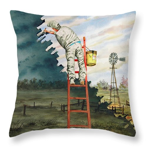 Landscape Throw Pillow featuring the painting Paintin Up A Storm by Sam Sidders