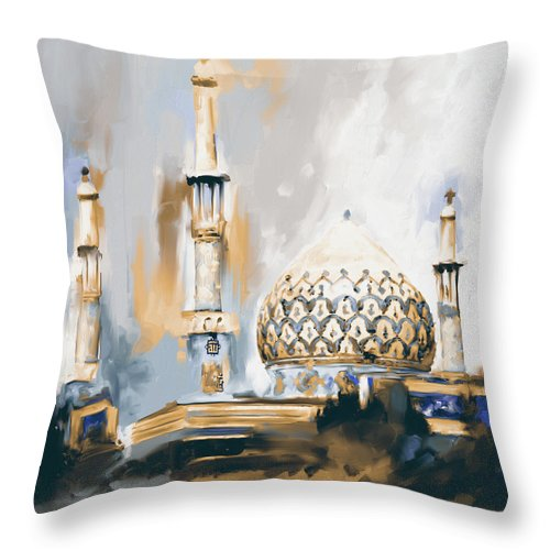Mosque Throw Pillow featuring the painting Painting 688 2 Bahman Mosque by Mawra Tahreem