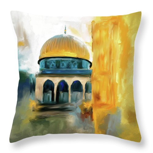 Mosque Throw Pillow featuring the painting Painting 691 1 Masjid-al-aqsa by Mawra Tahreem