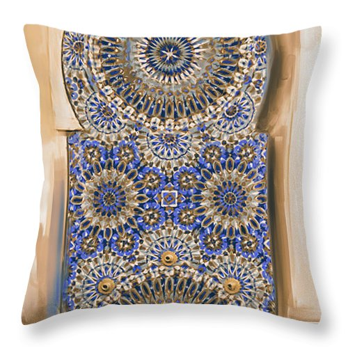 Geometric Throw Pillow featuring the painting Painting 777 3 Zellige by Mawra Tahreem