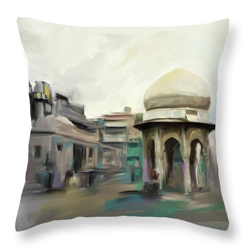 Chowk Yaadgar Throw Pillow featuring the painting Painting 798 1 Chowk Yadgaar by Mawra Tahreem