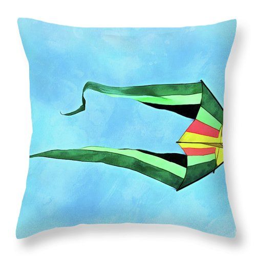 Art Throw Pillow featuring the painting Painting Of Kites Flying During Kite Festival by George Atsametakis