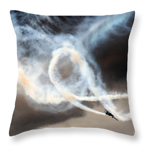 Blades Extra 300 Throw Pillow featuring the photograph Painting The Sky by Angel Ciesniarska