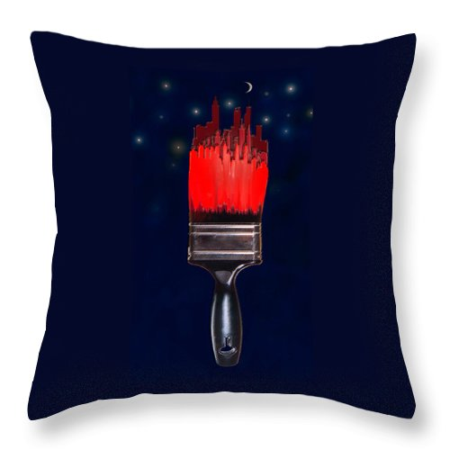 Paint Throw Pillow featuring the digital art Painting The Town Red by Jane Schnetlage