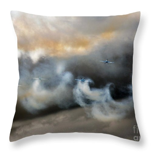 Blades Extra 300 Throw Pillow featuring the photograph Painting With The Smoke by Angel Ciesniarska
