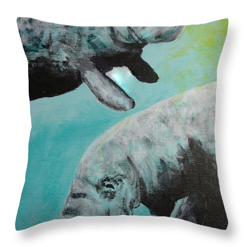 Florida Throw Pillow featuring the painting Pair Of Florida Manatees by Susan Kubes