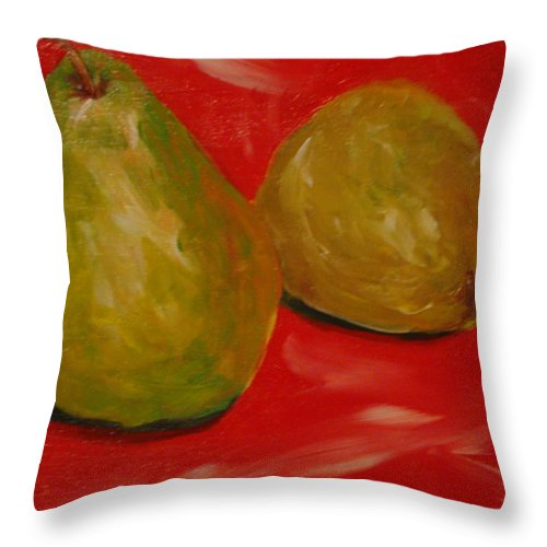 Pears Throw Pillow featuring the painting Pair Of Pears by Melinda Etzold