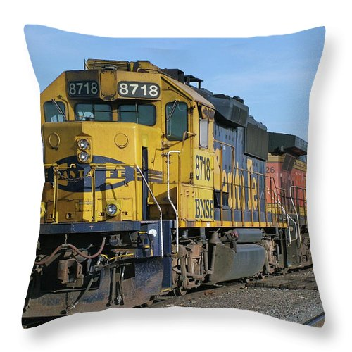 Diesel Train Throw Pillow featuring the photograph Paired Up by Ken Smith