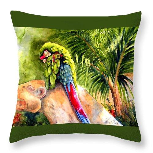 Parrot Throw Pillow featuring the painting Pajaro by Karen Stark