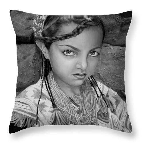 People Portraits Throw Pillow featuring the painting Pakistani Girl by Portraits By NC