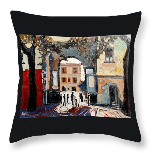 Tuscany Throw Pillow featuring the painting Palazzo Vecchio by Kurt Hausmann