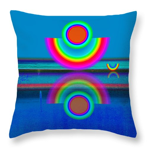 Reflections Throw Pillow featuring the painting Pale Blue Reflections by Charles Stuart
