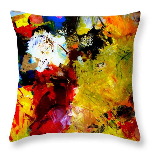 Rustic Throw Pillow featuring the painting Palette Abstract Square by Michelle Calkins