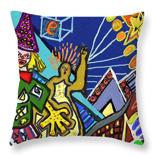 Figurative Throw Pillow featuring the painting Pallassos Clowns by Xavier Ferrer