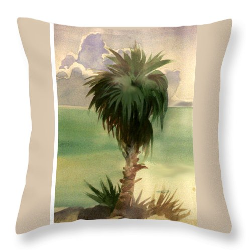 Palm Throw Pillow featuring the painting Palm At Horseshoe Cove by Neal Smith-Willow