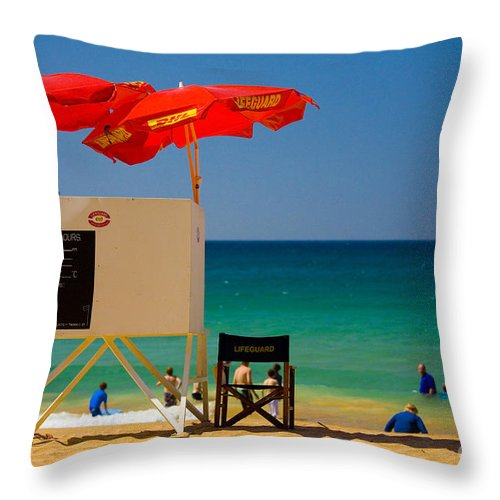 Palm Beach Sun Sea Sky Beach Umbrellas Throw Pillow featuring the photograph Palm Beach Dreaming by Sheila Smart Fine Art Photography