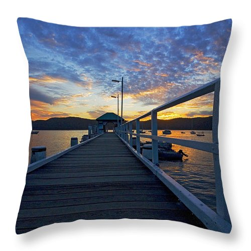 Palm Beach Sydney Wharf Sunset Dusk Water Pittwater Throw Pillow featuring the photograph Palm Beach Wharf At Dusk by Sheila Smart Fine Art Photography
